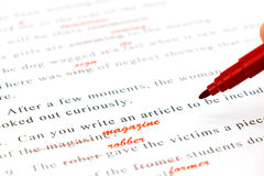 Control de deletreo en frases inglesas Fotos de archivo libres de regalías