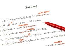 Control de deletreo en frases inglesas Foto de archivo libre de regalías