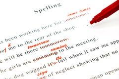 Control de deletreo en frases inglesas Imagen de archivo