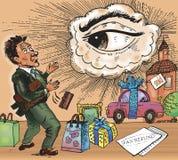 Control de impuesto de las compras Las miradas del hermano mayor ilustración del vector