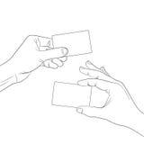 Control de la mano un contorno del esquema de la tarjeta en blanco Imagen de archivo libre de regalías