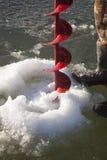 Control de la perforación del taladro del hielo Imagenes de archivo