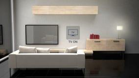 Control de la sala de estar TV, aparatos electrodomésticos elegantes, Internet de cosas ilustración del vector