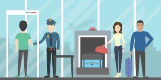 Control de seguridad aeroportuaria ilustración del vector