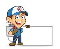 Control del exterminador o de parásito que celebra la muestra en blanco libre illustration