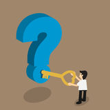 Control del hombre de negocios una llave para desbloquear el problema, concepto para el solvi Imagenes de archivo