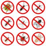 Control del parásito y de insecto, iconos fijados Fotos de archivo