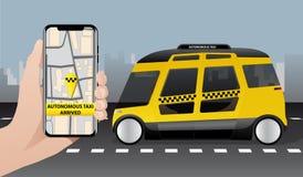 Control del taxi autónomo por el app móvil stock de ilustración