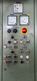 Control desk. Details of a control desk,  part of a printing machine Royalty Free Stock Photos