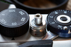 Control dial shutter speed and frame counter on SLR camera Stock Photo