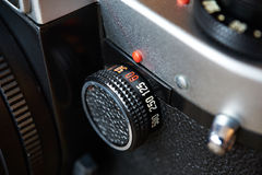 Control dial shutter speed on SLR camera Royalty Free Stock Photos