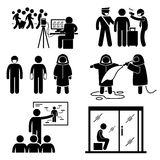 Control Diseases Virus Transmission Outbreak Cliparts. A set of human pictogram representing how authority and government control outbreak and diseases spreading Stock Photo