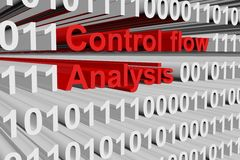 Control flow analysis. In the form of binary code, 3D illustration Stock Image