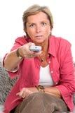 control holding remote woman Στοκ Εικόνες