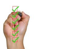 Control humano de la mano todas las cajas con área de espacio verde de la marca y de la copia Imágenes de archivo libres de regalías
