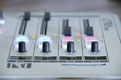 Control knobs on music mixer Royalty Free Stock Image