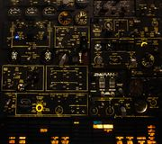 Control levers and switches with backlighting. Airplane cockpit Stock Images