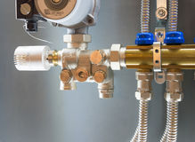 Control manifold of house heating system Royalty Free Stock Images