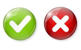 Control Mark Icon Button Vector del rojo y del verde Fotografía de archivo