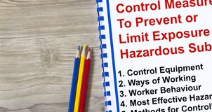 Control measure to limit exposure to hazardous substance. Concept Stock Images