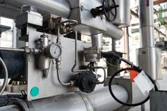 Control Measuring Devices Of Accounting Of Indicators Established On Node Of Pipelines On Oil Processing Installation Stock Photo