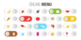 Control menu en línea de los símbolos Imágenes de archivo libres de regalías