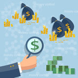 Control of money dollar coins online money transfer transactions. Concept financing cash investment global business flat vector Stock Images