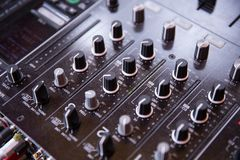 Control nobs on a sound mixing board royalty free stock image