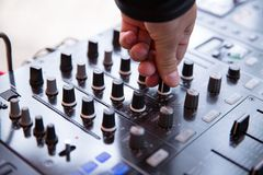 Control nobs on a sound mixing board stock photo