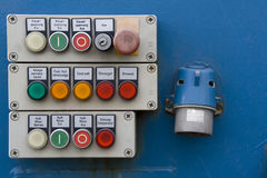 Control Panel. Dirty control panel, the labeling is in german Royalty Free Stock Photography