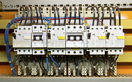Control panel. With circuit-breakers (fuse Stock Image