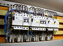 Control panel. With circuit-breakers (fuse Royalty Free Stock Photos