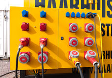 Control panel. Yellow control panel for a mobile aggregate Stock Photo