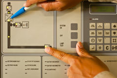 Control panel. In substation room Stock Images