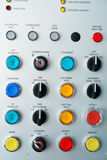 Control panel. With electric switches Stock Photos