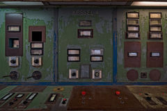 Control panel in the abandoned rocket production workshops. PEENEMUENDE, GERMANY - JULY 18, 2017: Control panel in the abandoned rocket production workshops Royalty Free Stock Photos