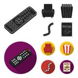 Control panel, an armchair for viewing, popcorn.Films and movies set collection icons in black, flat style vector symbol. Stock illustration Stock Photos