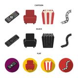 Control panel, an armchair for viewing, popcorn.Films and movies set collection icons in cartoon,black,flat style vector. Symbol stock illustration Royalty Free Stock Photos