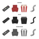 Control panel, an armchair for viewing, popcorn.Films and movies set collection icons in cartoon,black,monochrome style. Vector symbol stock illustration Royalty Free Stock Photo