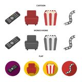 Control panel, an armchair for viewing, popcorn.Films and movies set collection icons in cartoon,flat,monochrome style. Vector symbol stock illustration Royalty Free Stock Images