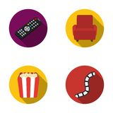 Control panel, an armchair for viewing, popcorn.Films and movies set collection icons in flat style vector symbol stock. Illustration Stock Photo