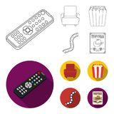 Control panel, an armchair for viewing, popcorn.Films and movies set collection icons in outline,flat style vector. Symbol stock illustration Stock Photo