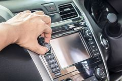 Control panel of audio player and other devices of the car. Control panel of audio player and other devices the car stock photo