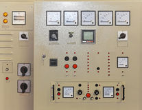 Control panel board. Electrical power control panel board with gauges royalty free stock images