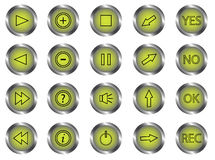 Control panel buttons. Illustration of control panel buttons, green Stock Photos