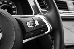 Control panel buttons on steering wheel Royalty Free Stock Photos