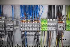 Control panel, cable assemblies. Close up Royalty Free Stock Image