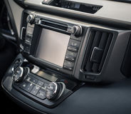 Control panel and cd in a modern car Royalty Free Stock Image