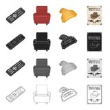 The control panel, a chair in the cinema, a movie ticket, a western poster. Film and Cinema set collection icons in. Cartoon black monochrome outline style Stock Images