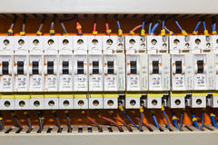 Control panel with circuit-breakers Stock Image